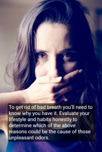 Woman covering mouth with her hand because of Bad Breath, with text - Benicia, CA