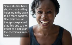African American woman with a healthy smile, with text - Benicia, CA